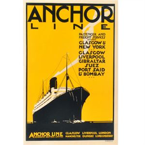 Picture of Anchor Line Yellow Mounted Print