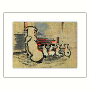 Picture of Joseph Crawhall Foxhound and Puppies Mounted Print