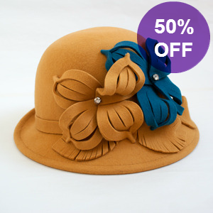 Picture of Felt Bowler Hat Mustard & Teal