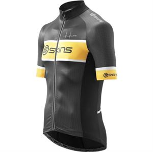 Picture of SKINS Mens Short Sleeve Cycle Jersey Black Yellow