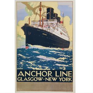 Picture of Anchor Line 'Glasgow to New York' Mounted Print