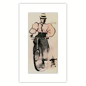 Picture of Joseph Crawhall Girl on a Bicycle Mounted Print