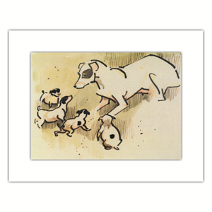 Picture of Joseph Crawhall Fox Terrier & Puppies Mounted Print